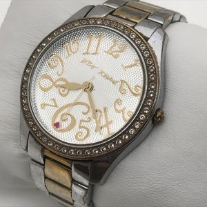 Betsey Johnson Ladies Watch Silver Gold Tone Water
